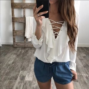 ▪️White Ruffle Front Lace-Up Blouse